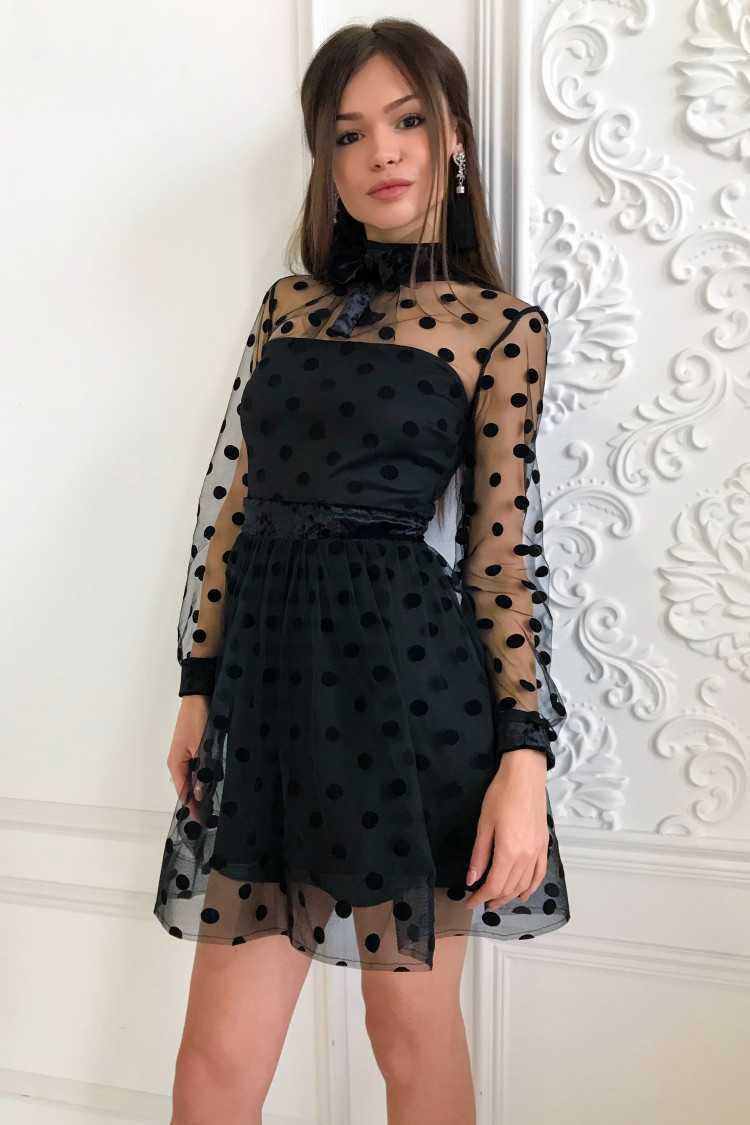 Платье В Горошек С Разрезом