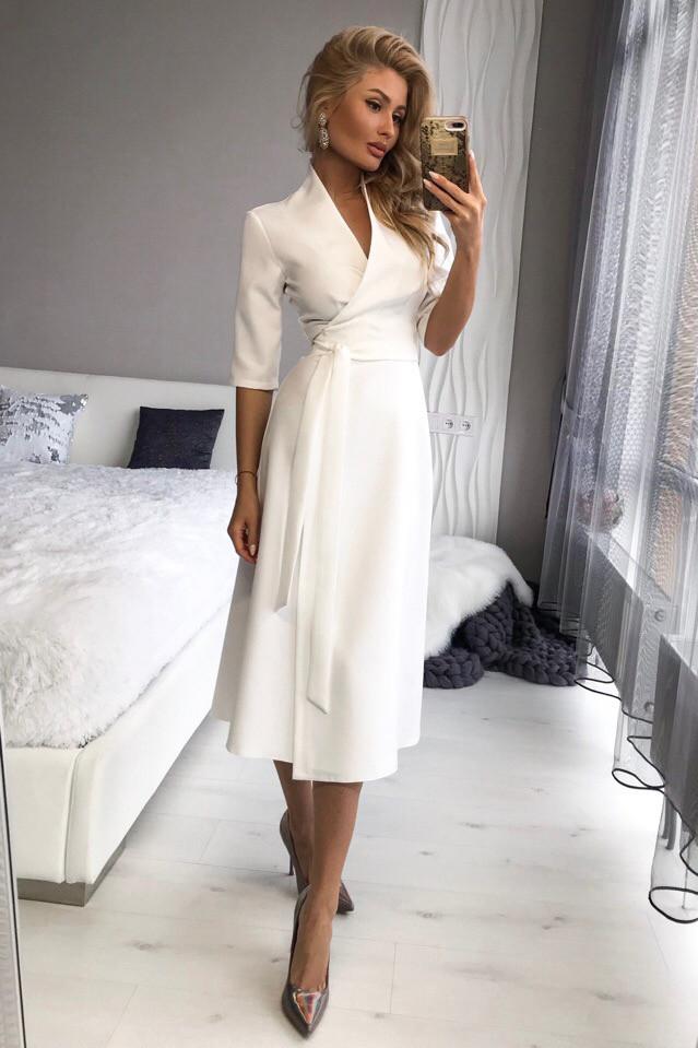 платье белое с запахом купить